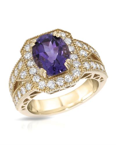 Lundstrom Brand New Ring with 3.91ctw of Precious Stones - amethyst and diamond 14K Yellow gold