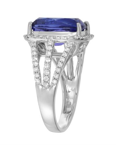 Brand New Ring with 6.58ctw of Precious Stones - diamond and tanzanite 14K White gold