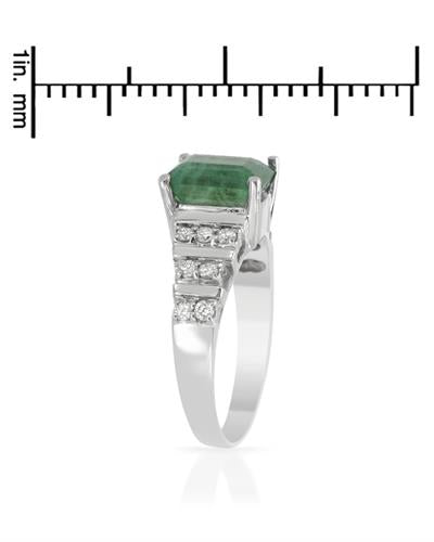 Brand New Ring with 2.55ctw of Precious Stones - diamond and emerald 14K White gold