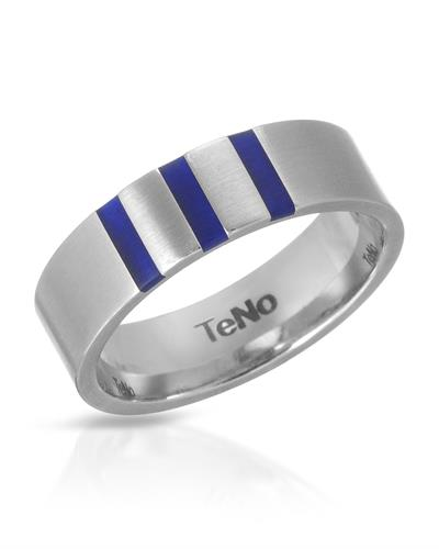 TeNo Brand New Ring  Blue ceramic and  Metallic Stainless steel