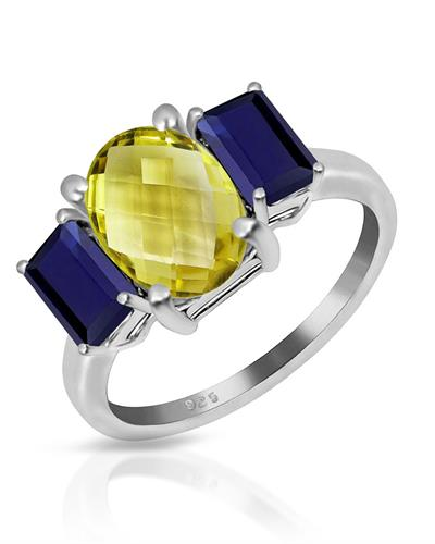 Brand New Ring with 4ctw of Precious Stones - quartz and sapphire 925 Silver sterling silver