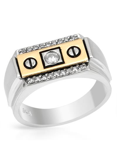 Brand New Ring with 0.31ctw diamond 14K/925 Two tone Gold and Sterling Silver