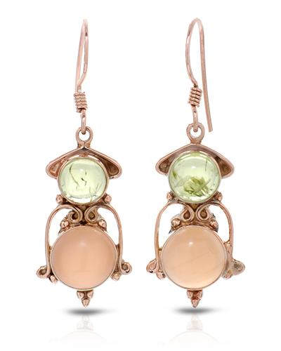 Brand New Earring with 9.6ctw of Precious Stones - moonstone and peridot 10K/925 Rose Gold plated Silver