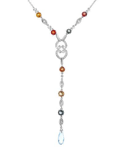 Brand New Necklace with 9.27ctw of Precious Stones - diamond, sapphire, and topaz 14K White gold