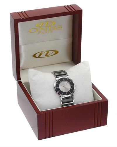 Oniss ON1004-L/BK PARIS Brand New Quartz Watch with 0.07ctw diamond