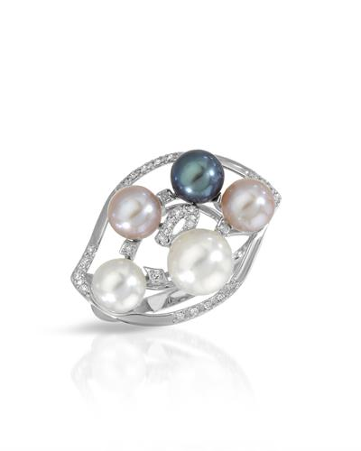Lundstrom Brand New Ring with 0.11ctw of Precious Stones - diamond and pearl 18K White gold