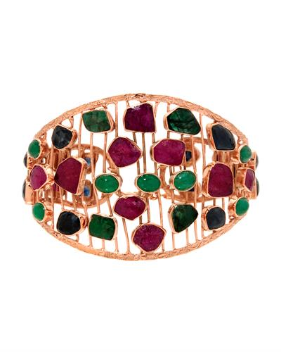 Brand New Bracelet with 45.32ctw of Precious Stones - emerald, ruby, and sapphire 10K/925 Rose Gold plated Silver