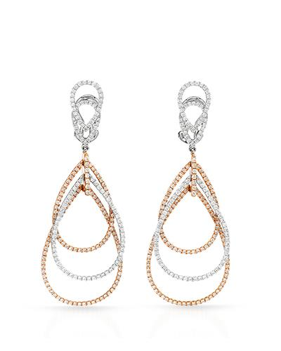 Brand New Earring with 2.32ctw diamond 18K Two tone gold