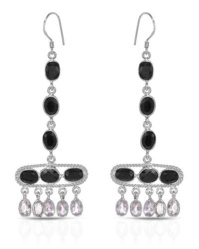 Brand New Earring with 17.3ctw of Precious Stones - amethyst and sapphire 925 Silver sterling silver