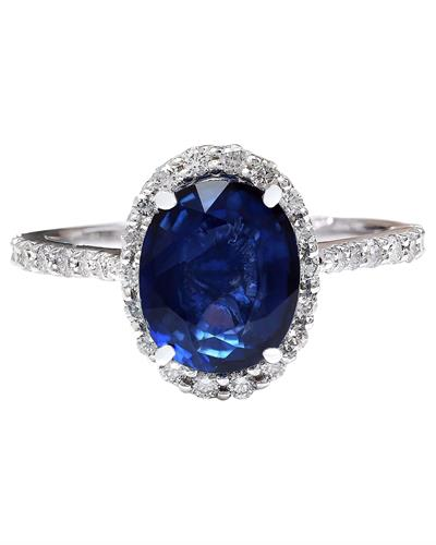 4.27 Carat Natural Sapphire 14K Solid White Gold Diamond Ring