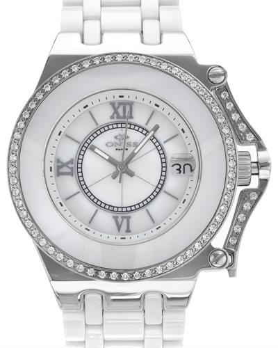 Oniss ON669L/WHT PARIS Brand New Swiss Movement date Watch with 0ctw of Precious Stones - crystal and mother of pearl