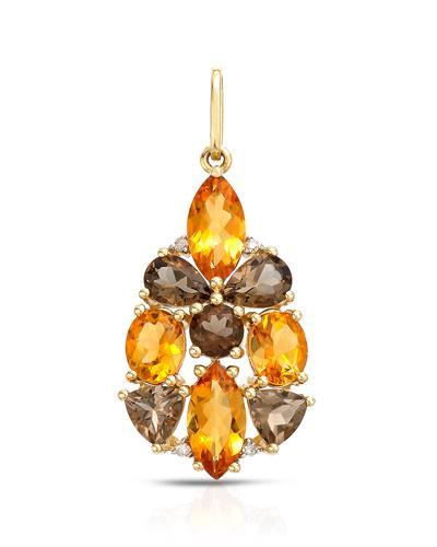 Brand New Pendant with 2.56ctw of Precious Stones - citrine, diamond, and topaz 14K Yellow gold