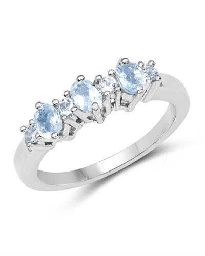 Brand New Ring with 0.59ctw of Precious Stones - aquamarine and topaz 925 Silver sterling silver