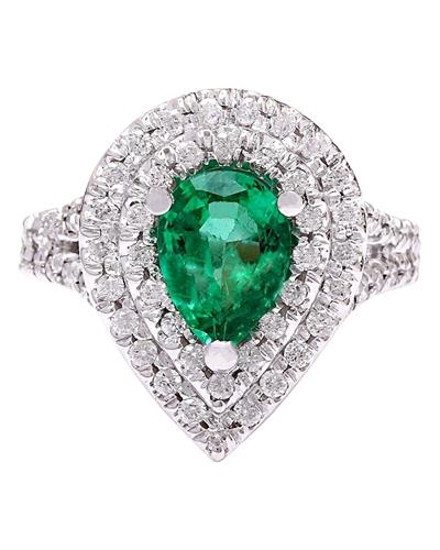 4.83 Carat Natural Emerald 14K Solid White Gold Diamond Ring