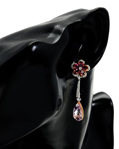 Brand New Earring with 11.73ctw of Precious Stones - amethyst, diamond, and tourmaline 18K Two tone gold