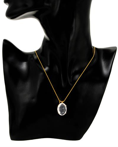 Brand New Necklace with 15.2ctw quartz 10K/925 Yellow Gold plated Silver