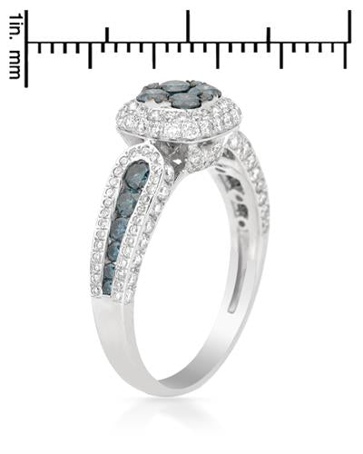 Brand New Ring with 1.42ctw of Precious Stones - diamond and diamond 14K White gold