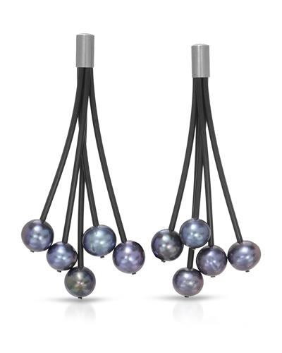 TeNo Brand New Earring with 0ctw pearl  Black rubber and  Metallic Stainless steel