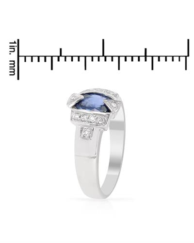 Brand New Ring with 1.15ctw of Precious Stones - diamond and sapphire 14K White gold