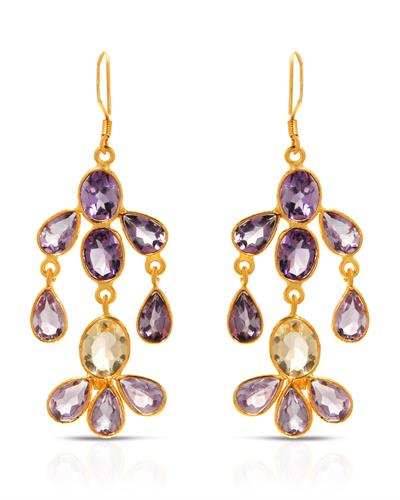 Brand New Earring with 17.5ctw of Precious Stones - amethyst and peridot 10K/925 Yellow Gold plated Silver