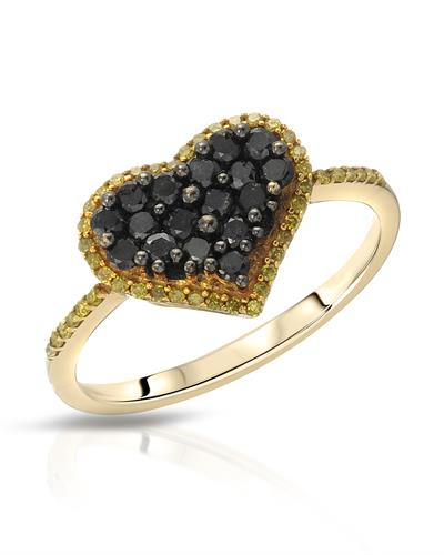 Lundstrom Brand New Ring with 0.63ctw of Precious Stones - diamond and diamond 10K Yellow gold