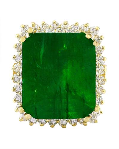 16.13 Carat Natural Emerald 14K Solid Yellow Gold Diamond Ring