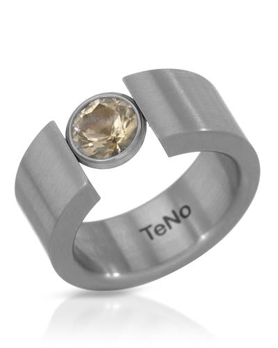 TeNo Brand New Ring with 1.02ctw topaz  Metallic Stainless steel