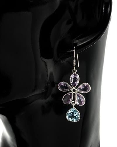 Brand New Earring with 16.3ctw of Precious Stones - amethyst and topaz 925 Silver sterling silver