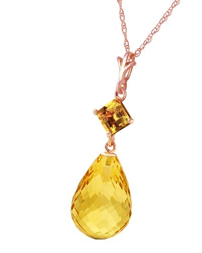 Magnolia Brand New Necklace with 5.5ctw citrine 14K Rose gold