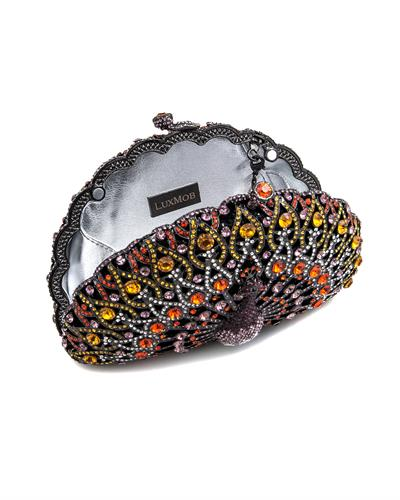 LuxMob Peacock Brand New Clutch with 0ctw crystal  Metallic base metal