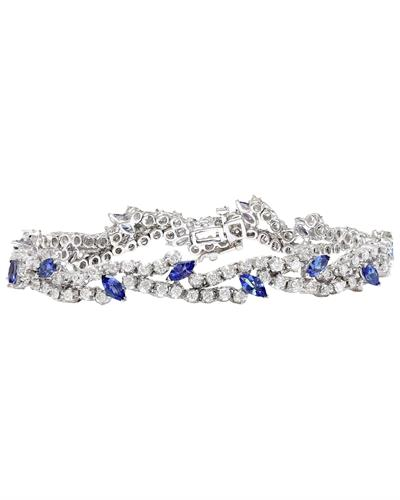 8.50 Carat Natural Tanzanite 14K Solid White Gold Diamond Bracelet
