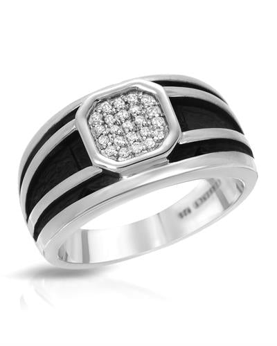 Currency Brand New Ring with 0.16ctw diamond 925 Two tone sterling silver