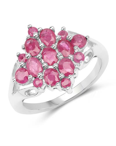 Brand New Ring with 1.87ctw of Precious Stones - diamond and ruby 925 Silver sterling silver