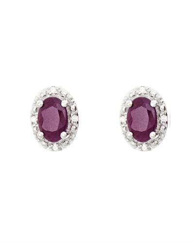 Brand New Earring with 1.22ctw of Precious Stones - diamond and ruby 925 Silver sterling silver