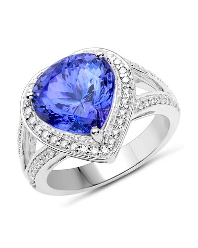 Julius Rappoport Brand New Ring with 6.75ctw of Precious Stones - diamond and tanzanite 14K White gold