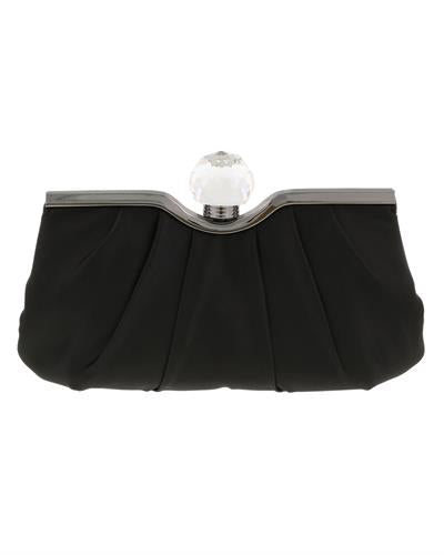 Scheilan Brand New Clutch with 0ctw crystal  Black Satin