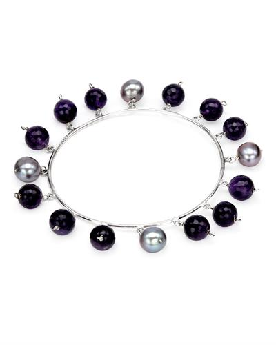 PEARL LUSTRE Brand New Bracelet with 60.5ctw of Precious Stones - amethyst and pearl 925 Silver sterling silver
