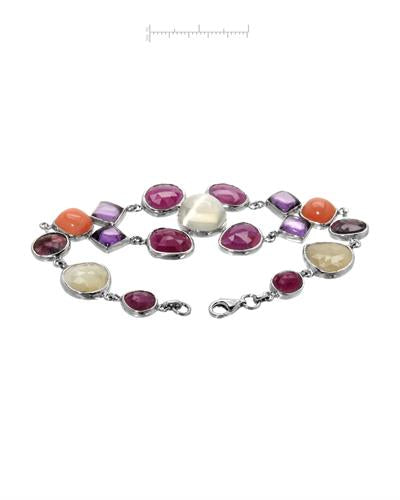 Brand New Bracelet with 70.67ctw of Precious Stones - amethyst, moonstone, and sapphire 925 Silver sterling silver