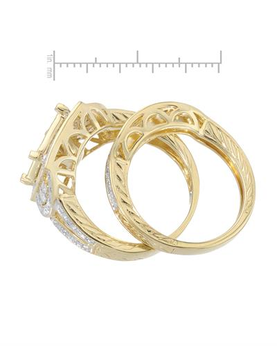 Brand New Ring with 0.45ctw diamond 14K/925 Yellow Gold plated Silver