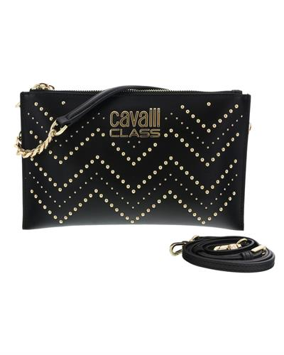 Roberto Cavalli HXLPH1 B14 Brand New Clutch  Black Genuine Calf Leather and  Black PVC