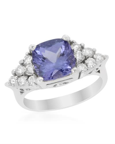 Brand New Ring with 2.6ctw of Precious Stones - diamond and tanzanite 14K White gold