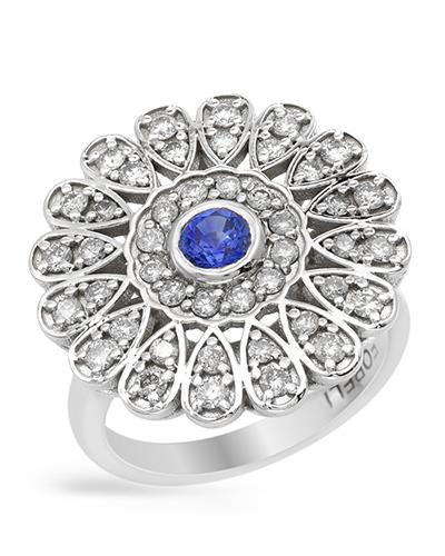 Brand New Ring with 1.3ctw of Precious Stones - diamond and sapphire 14K White gold