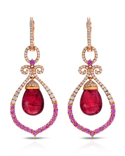 Brand New Earring with 18.02ctw of Precious Stones - diamond, Rubellite, and sapphire 18K Rose gold