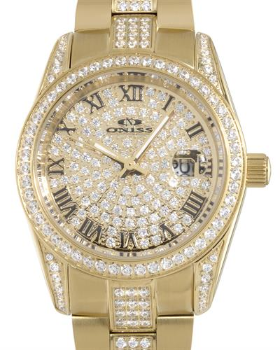 Oniss ON3880-LG PARIS Brand New Japan Quartz date Watch with 0ctw crystal