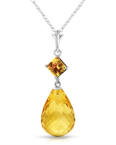 Magnolia Brand New Necklace with 5.5ctw citrine 14K White gold