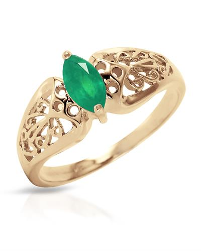 Magnolia Brand New Ring with 0.2ctw emerald 14K Yellow gold