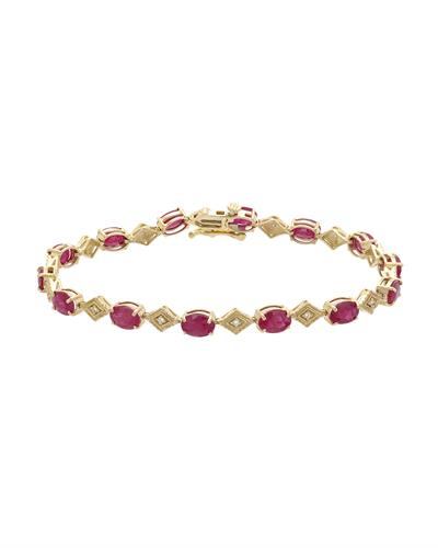 Brand New Bracelet with 6ctw of Precious Stones - diamond and ruby 14K Yellow gold