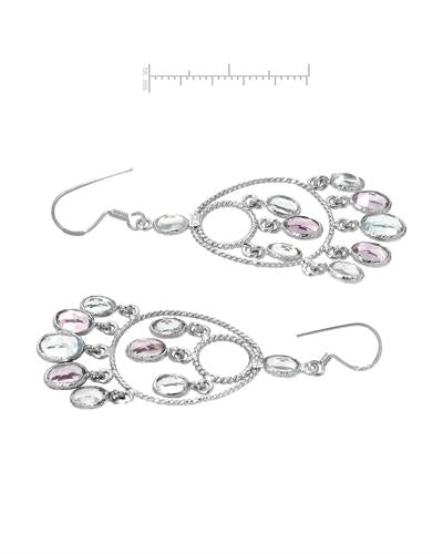 Brand New Earring with 12ctw of Precious Stones - amethyst and topaz 925 Silver sterling silver