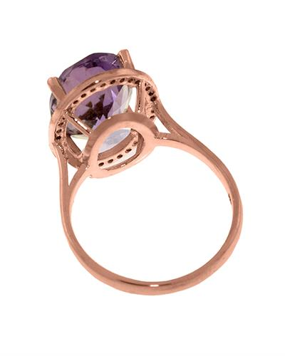 Magnolia Brand New Ring with 5.28ctw of Precious Stones - amethyst and diamond 14K Rose gold