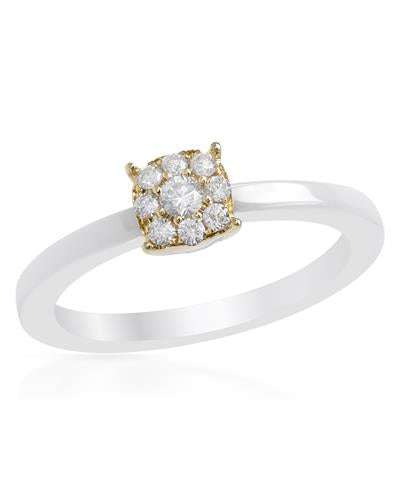 Lundstrom Brand New Ring with 0.2ctw diamond  White ceramic and 14K Yellow gold